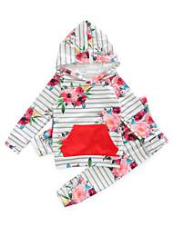 povoljno -Dijete Djevojčice Pamuk Poliester Print Dnevno Proljeće Dugih rukava Komplet odjeće Ležerne prilike Blushing Pink