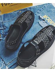 Homens sapatos Micofibra Sintética PU Primavera Verão Conforto Sandálias para Casual Preto