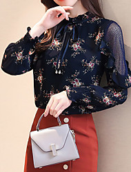 cheap -Women's Holiday Business Street chic Slim Blouse - Floral, Lace Stand