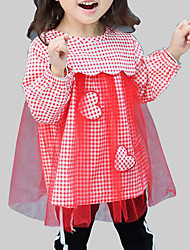 cheap -Girl's Daily Going out Plaid Patchwork Dress, Rayon Polyester Spring Fall Long Sleeves Casual Street chic Black Red Yellow
