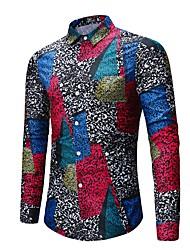 Недорогие -Муж. С принтом Рубашка преувеличены Уличный стиль Контрастных цветов