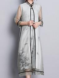 baratos -Mulheres Manga Borboleta Solto Vestido - Estampado, Floral Colarinho Chinês Médio
