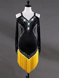 abordables -Baile Latino Vestidos Mujer Entrenamiento Licra Tul Cristales / Rhinestones Borla Manga Larga Cintura Alta Vestido