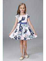 abordables -Robe Fille de Soirée Vacances Couleur Pleine Fleur Imprimé Coton Acrylique Polyester Printemps Eté Sans Manches simple Mignon Blanc