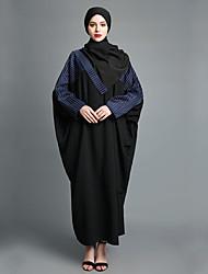 abordables -Femme Chic de Rue Manches Lanterne Ample Tunique Abaya Robe - Ouvert Mosaïque, Rayé Couleur Pleine Maxi