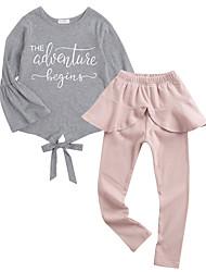 cheap -Girls' Daily Geometric Clothing Set, Polyester Spring Long Sleeves Simple Blushing Pink
