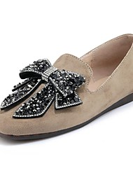 Недорогие -Жен. Обувь Дерматин Весна Осень Удобная обувь Мокасины и Свитер На низком каблуке Круглый носок Стразы Бант для Офис и карьера Для