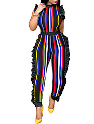 cheap -Women's Club Street chic Slim Jumpsuit - Striped, Ruffle Patchwork Harem Crew Neck