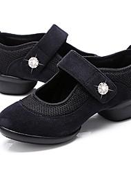 abordables -Femme Baskets de Danse Toile / Tulle Basket Cristal / strass Talon Bottier Personnalisables Chaussures de danse Noir