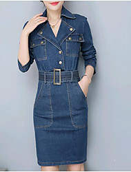 abordables -Femme Basique Coton Mince Toile de jean Robe Couleur Pleine Col de Chemise Mi-long / Printemps