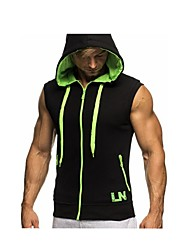 cheap -Men's Sports Active Cotton Slim Tank Top - Solid Colored Basic Hooded / Sleeveless