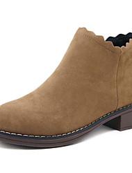 baratos -Mulheres Sapatos Pele Nobuck / Couro Ecológico Outono Coturnos Botas Salto Robusto Dedo Apontado Botas Cano Médio Ziper Preto / Amêndoa