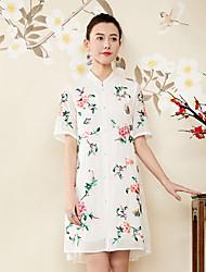 Недорогие -Жен. Шинуазери (китайский стиль) Свободный силуэт Платье - Цветочный принт, Вышивка Воротник-стойка