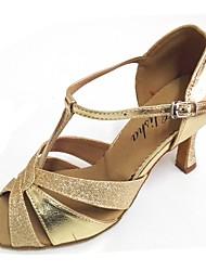 preiswerte -Damen Schuhe für den lateinamerikanischen Tanz Leder Absätze Maßgefertigter Absatz Maßfertigung Tanzschuhe Gold / Innen