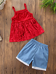 cheap -Girls' Daily Going out Solid Clothing Set, Cotton Polyester Spring Summer Sleeveless Cute Casual Red