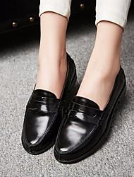 abordables -Femme Chaussures Cuir Printemps Automne Confort Mocassins et Chaussons+D6148 Talon Bottier Bout rond pour Noir Bourgogne