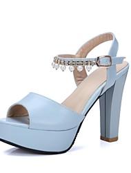 Недорогие -Жен. Обувь Материал на заказ клиента / Дерматин Лето Удобная обувь / Оригинальная обувь Сандалии На толстом каблуке Открытый мыс Белый /