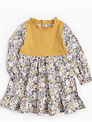 abordables -Robe Fille de Quotidien Fleur Polyester Printemps Manches Longues Rétro Orange