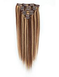 billiga -Klämma in Människohår förlängningar 7pcs / Paket 70g / förpackning Mellanbrun / Rödlätt Medium Brun / Blekt Blont Guld Brun / Blekt Blont
