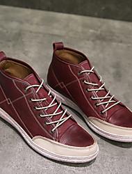 abordables -Homme Chaussures Cuir Nappa Printemps Automne Confort Basket pour Décontracté De plein air Noir Vin