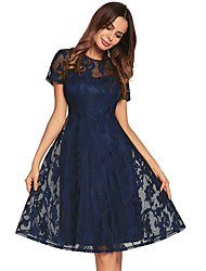cheap -Women's Slim Skater Dress - Solid Color, Lace Backless High Waist