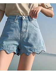 baratos -Mulheres Cintura Alta Shorts Jeans Calças - Sólido Frufru