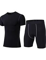 baratos -Homens activewear Set Manga Curta / Calça curta Respirabilidade Conjuntos de Roupas para Fitness Poliéster Azul / Vermelho / Branco /