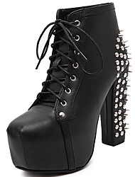 cheap -Women's Shoes Patent Leather Fall Winter Combat Boots Fashion Boots Boots Chunky Heel Booties / Ankle Boots Rivet for Party & Evening