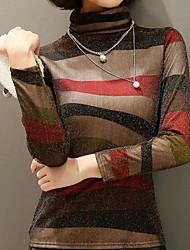 cheap -Women's Basic Slim T-shirt - Striped Turtleneck