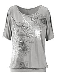 abordables -camiseta vintage de poliéster para mujer - cuello redondo geométrico