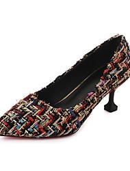 Недорогие -Жен. Обувь Резина Весна Осень Удобная обувь Обувь на каблуках На шпильке Заостренный носок для на открытом воздухе Черный Бежевый