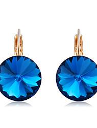 preiswerte -Damen Kristall Krystall vergoldet Tropfen-Ohrringe - Klassisch Elegant Dunkelblau Kreisform Ohrringe Für Party / Abend Alltag