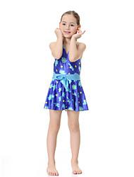 cheap -Girls' Boho Floral Swimwear, Polyester Nylon Spandex Sleeveless Purple Fuchsia