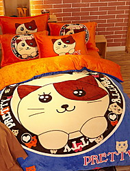 cheap -Duvet Cover Sets Cartoon 4 Piece Poly/Cotton Polyster Reactive Print Poly/Cotton Polyster 1pc Duvet Cover 2pcs Shams 1pc Flat Sheet