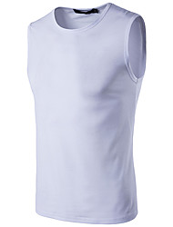 cheap -Men's Street chic Cotton Slim Tank Top - Solid Colored Round Neck / Sleeveless