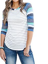 preiswerte -Damen Gestreift-Grundlegend T-shirt