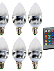 cheap -YWXLIGHT® 6pcs 4W 300-400lm E14 LED Candle Lights 1 LED Beads High Power LED Dimmable Decorative Remote-Controlled RGB