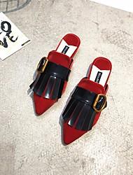 abordables -Femme Chaussures PU de microfibre synthétique Printemps / Automne Confort Sabot & Mules Talon Plat Noir / Rouge / Rose