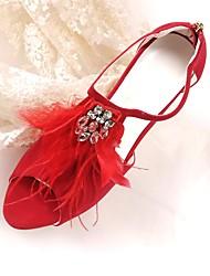 Недорогие -Жен. Обувь Нубук Весна / Лето Туфли лодочки Свадебная обувь На шпильке Открытый мыс Пух / Ленты Красный