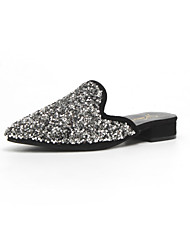 cheap -Women's Shoes PU Summer Comfort Slippers & Flip-Flops Low Heel Pointed Toe Rhinestone for Black Silver