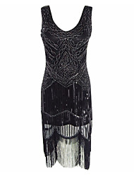 preiswerte -Great Gatsby Retro 20er Kostüm Damen Cocktailkleid Flapper Kleid Party Kostüme Schwarz Vintage Cosplay Polyester Ärmellos Kalte Schulter