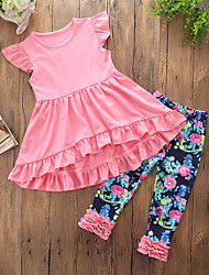 cheap -Girls' Daily Going out Solid Floral Clothing Set, Cotton Polyester Summer Sleeveless Cute Casual Blushing Pink