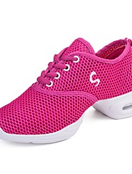 cheap -Women's Dance Sneakers Tulle Canvas Sneaker Outdoor Splicing Low Heel Pink 1 - 1 3/4 Customizable