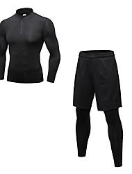 baratos -Homens activewear Set - Vermelho / Branco, Cinzento, Cinza Escuro Esportes Sólido Leggings / Conjuntos de Roupas Cooper Manga Longa / Pant Long Roupas Esportivas Respirabilidade Com Stretch