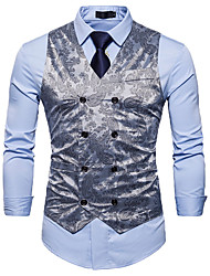 cheap -Men's Cotton Vest - Solid Colored Floral Print