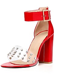 cheap -Women's Shoes Patent Leather / Customized Materials Spring / Summer Novelty Sandals Chunky Heel Open Toe Buckle Red / Almond / Light Pink