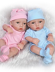 cheap -NPK DOLL Reborn Doll Baby Girl 10 inch Full Body Silicone / Silicone / Vinyl - lifelike, Hand Applied Eyelashes, Tipped and Sealed Nails Kid's Unisex Gift / Natural Skin Tone / Floppy Head