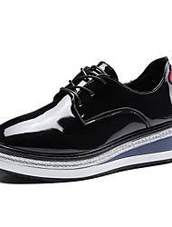 baratos -Mulheres Sapatos Borracha Primavera / Outono Conforto Tênis Sem Salto Ponta Redonda Preto / Vinho