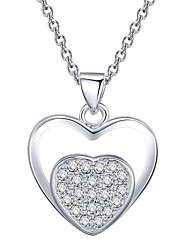 cheap -Women's Cubic Zirconia Choker Necklace / Pendant Necklace - Silver Plated Heart, Flower Simple, Classic, Elegant Silver, Blue Necklace One-piece Suit For Wedding, Evening Party