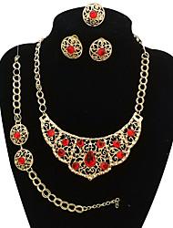 baratos -Mulheres Conjunto de jóias - Flor Vintage, Importante, Oversized Incluir Bracelete / Brincos Curtos / Colares em Corrente Roxo / Vermelho / Azul Para Festa / Formal / Anel de declaração